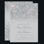 """Sparkling Silver Glitter Wedding Invitations<br><div class=""""desc"""">Sparkling Silver Glitter Wedding Invitations. Glamourous,  Glitter with sparkling silver,  this invitation wedding  coordinates with our Glitter Wedding and Bridal Shower decor. Additional color options are available in our shop on Zazzle at MetroEvents. Designed by Metro-Event.com</div>"""