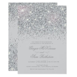 Sparkling Silver Glitter Wedding Invitations