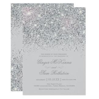 Silver Glitter Invitations Announcements Zazzle