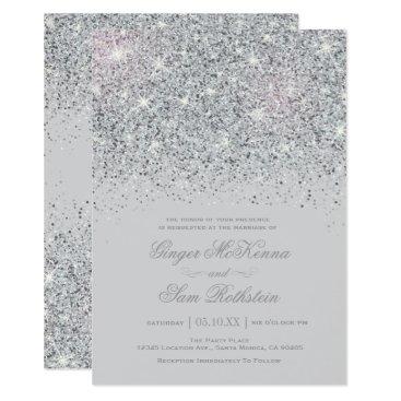MetroEvents Sparkling Silver Glitter Wedding Invitations