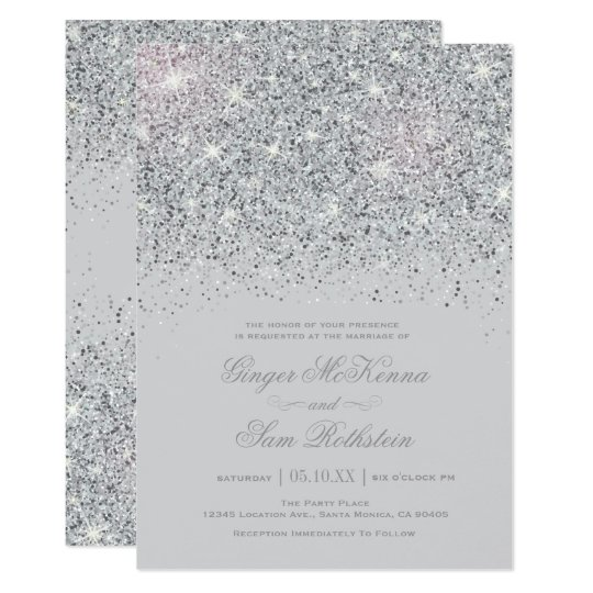 sparkling silver glitter wedding invitations zazzle com