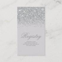 Sparkling Silver Glitter Wedding Registry Card