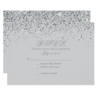 Sparkling Silver Glitter Wedding Response Cards