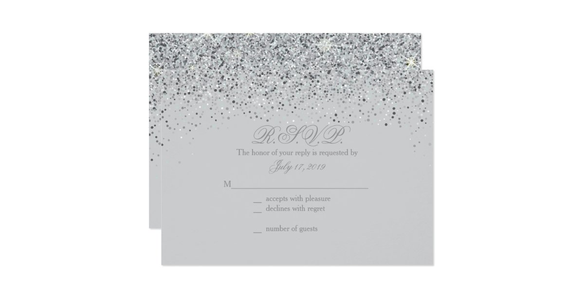 Sparkling Silver Glitter Wedding Response Cards