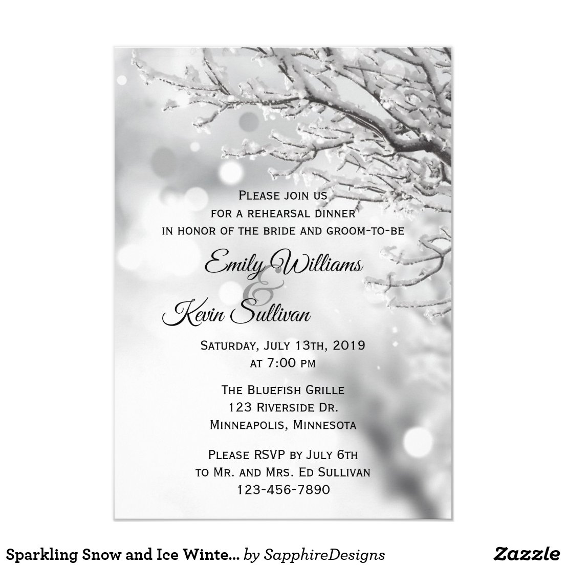 Sparkling Snow and Ice Winter Rehearsal Dinner Invitation