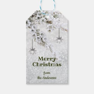 Sparkling Snow Christmas Gift Tag