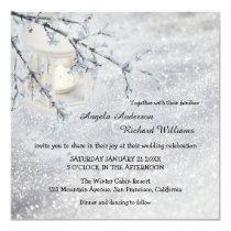 Sparkling Snow Lantern Winter Wedding Invitation
