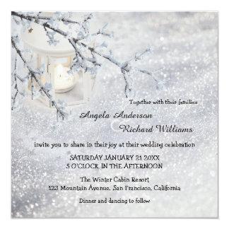 sparkling snow lantern winter wedding invitation - Lantern Wedding Invitations