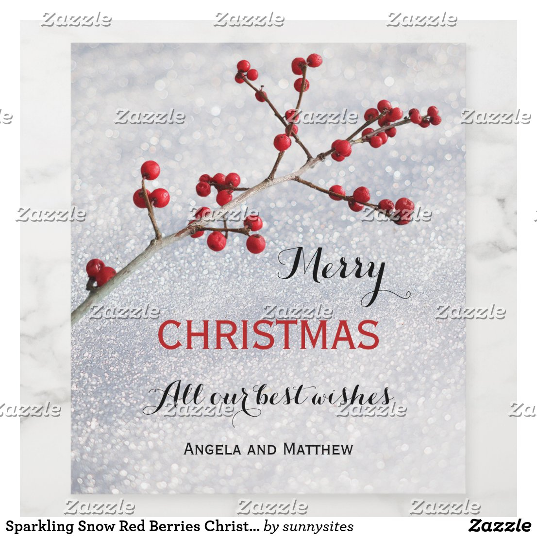 Sparkling Snow Red Berries Christmas Wine Label