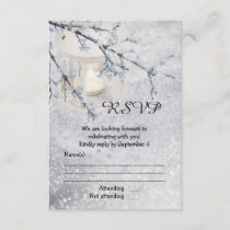 Sparkling Snow Winter Wedding RSVP Card