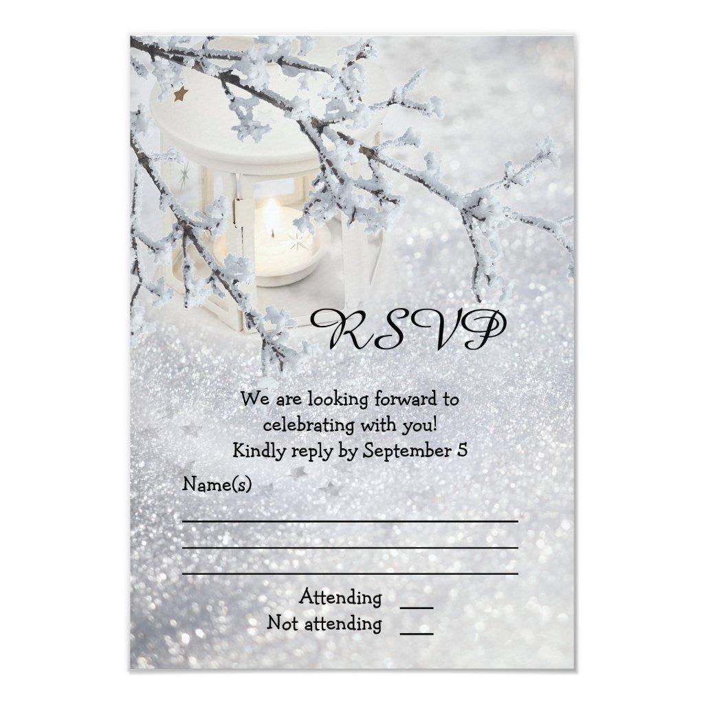 Sparkling Snow Winter Wedding RSVP Card