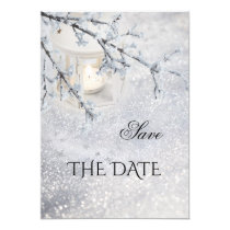 Sparkling Snow Winter Wedding Save the Date Card