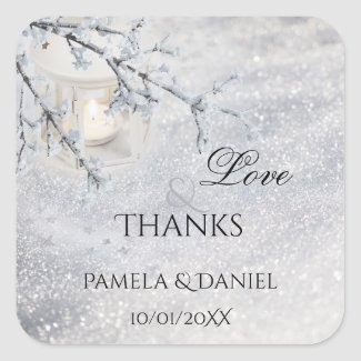 Sparkling Snow Winter Wedding Thank You Sticker