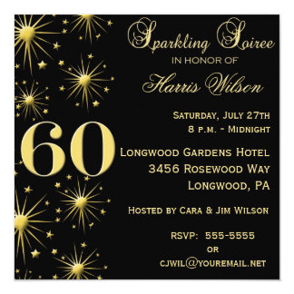 Sparkling Soiree 60th Birthday Invitations
