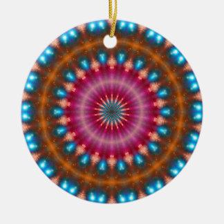 Sparkling soul music (red-orange-turquoise) ceramic ornament