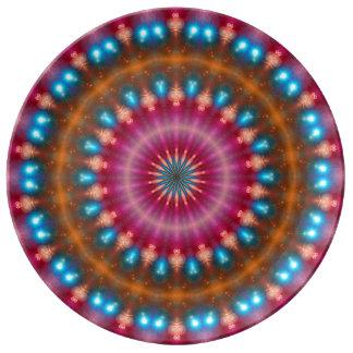 Sparkling soul music (red-orange-turquoise) dinner plate