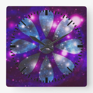 Sparkling space flower Wall Clock