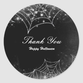 Sparkling Spiderwebs Halloween Party Favor Classic Round Sticker