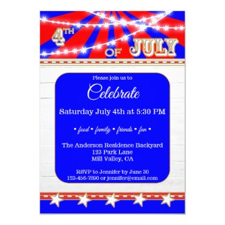 Sparkling Star Lights 4th of July Party Invitation