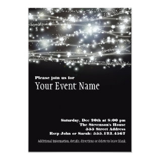 Sparkling Stars Black And White Party Invitation at Zazzle
