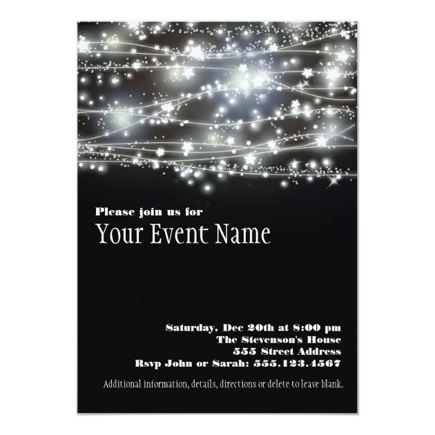 Sparkling Stars Black and White Party Invitation Zazzlecom