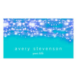 Sparkling Stars Blue and Turquoise Festive Double-Sided Standard Business Cards (Pack Of 100)