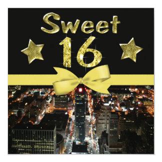 Sparkling Stars Sweet 16 In City Lights Invitation