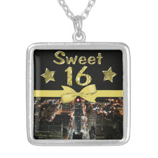 Sparkling Stars Sweet 16 In City Lights Silver Plated Necklace