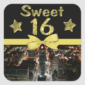 Sparkling Stars Sweet 16 In City Lights Square Sticker