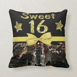 Sparkling Stars Sweet 16 In City Lights Throw Pillow