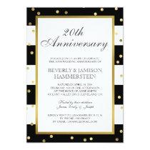 Sparkling Stripes | 20th Wedding Anniversary Party Invitation