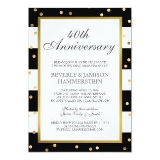 Sparkling Stripes | 40th Wedding Anniversary Party Card