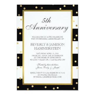 Sparkling Stripes | 5th Wedding Anniversary Party Invitation