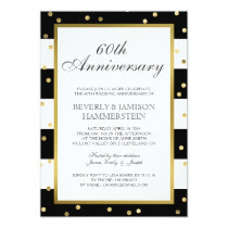 Sparkling Stripes | 60th Wedding Anniversary Party Card