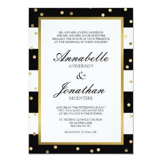 Sparkling Stripes   Elegant Wedding Invitation