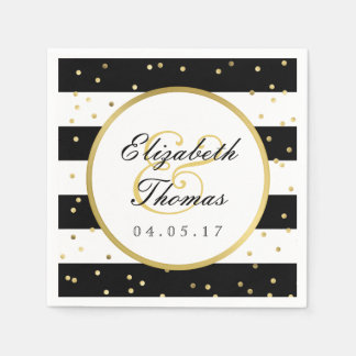 Sparkling Stripes   Elegant Wedding Napkin