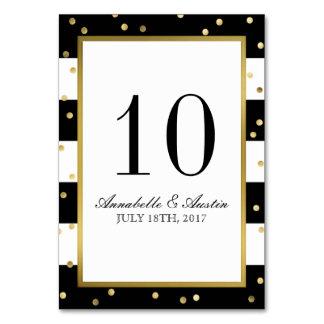 Sparkling Stripes   Elegant Wedding Table Card