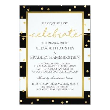 ModernMatrimony Sparkling Stripes | Engagement Party Invitation