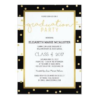 Sparkling Stripes | Graduation Party Invitation