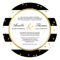 Sparkling Stripes | Round Wedding Invitation