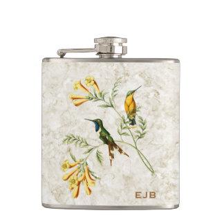 Sparkling Tailed Hummingbird Monogram Hip Flasks