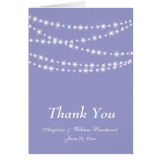 Sparkling Twinkle Lights Thank You Card purple