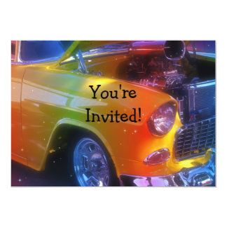 Sparkling Vintage Classic Car Retirement Birthday 5x7 Paper Invitation Card