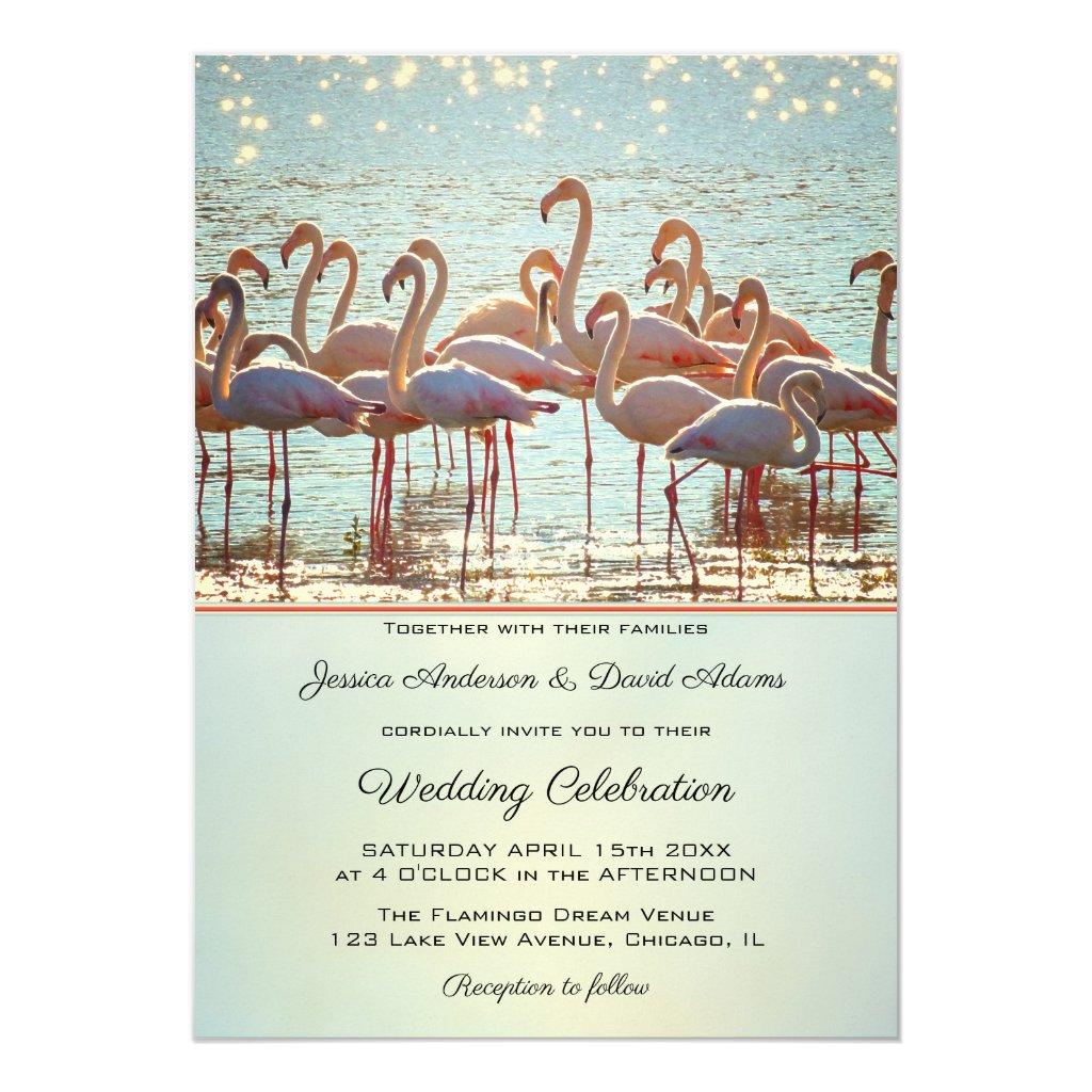 Sparkling Water Flamingo Wedding Invitation