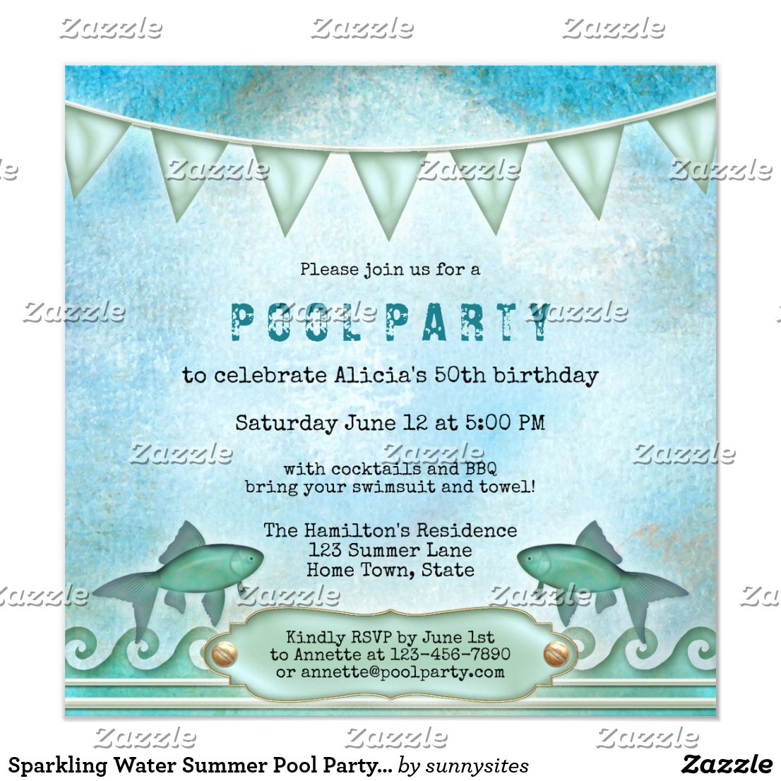 Sparkling Water Summer Pool Party Invitation