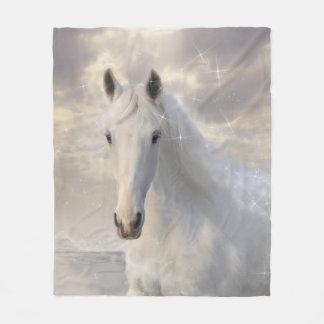 Sparkling White Horse Fleece Blanket