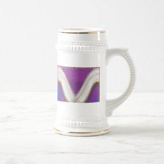 Sparkling White Jewels -  Silver Wave Pattern 18 Oz Beer Stein