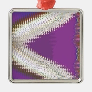 Sparkling White Jewels -  Silver Wave Pattern Square Metal Christmas Ornament