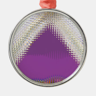 Sparkling White Jewels -  Silver Wave Pattern Round Metal Christmas Ornament