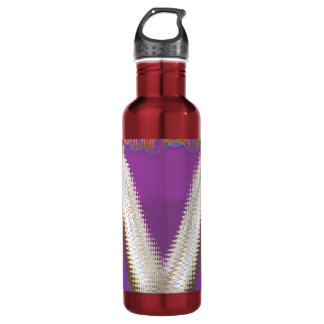 Sparkling White Jewels -  Silver Wave Pattern Water Bottle